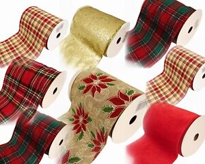 14cm Wired Edge Christmas Ribbon 10 yards Tartan & Poinsettia For Bow Making