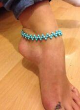 Anklet ankle bracelet Turquoise glass Pearls boho hippie festival Zig Zag