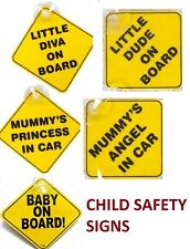 Baby on Board Suction Cups Car Vehicle Sign Little Dude Mummy's Angel Princess