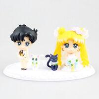 "Sailor Moon Tsukino Usagi Chiba Mamoru Happy Wedding Action Figure 2.4"" Toy New"