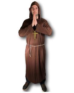 Adulto Hombre Disfraz de Monje Fraile Pliegue Medieval Hermano Cura Disfraz