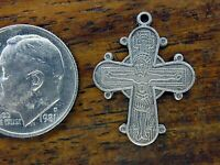 Vintage sterling silver CROSS CRUCIFIX SAINTS RELIGIOUS DOUBLE SIDED charm
