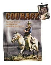 New John Wayne Courage Plush Gift Throw Blanket Movie Cowboy Quote Horse Fleece