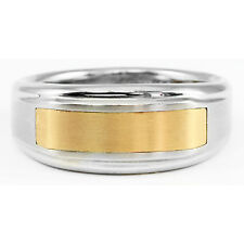 Stel Stainless Steel 14k Yellow Gold Ring Band Brushed Polished Finish Size 10.5