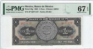 P-59g 1961 1 Peso, Mexico, Banco de Mexico, PMG 67EPQ SUPERB GEM