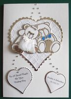 Personalised Handmade Card Silver Bride and Groom Wedding Day/Anniversary