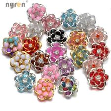 10pcs/lot Metal Flower Snap Charms18mm Snap Button For 20mm Snap Jewelry HM022