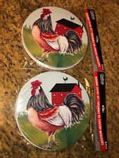 Country Farmhouse Rooster 4 Piece Electric Stove Burner Covers Red Barn New