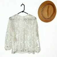 NWT ZARA SILVER SEQUINNED BLOUSE long sleeve elastic cuffs Party Size S #3182