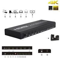 HDMI to HDMI 2.0+SPDIF 4K 1x4 Splitter Optical RCA L/R Audio Extractor Converter
