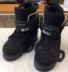 Liquid Force Soven Limited Edition Wakeboard Bindings Boots SZ 10-11 Black