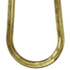 14k Gold Plated Herringbone Chain Necklace 14mm x 30 inches long - High Quality