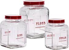 Home Essentials Vintage Glass Canister Set Of 3, Sugar, Flour, Rice