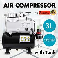1/5HP Airbrush Air Compressor With 3L Air Tank Portable Stencils Nail Graphic