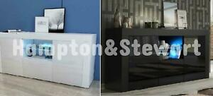 Modern 145cm TV Unit Cabinet Stand Sideboard Matt body and High Gloss Front LED