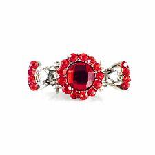 Metal Hair Claw Clip Hairpin Rhinestone Crystal Vintage Elegant Small RED 005