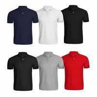 Mens Collar T Shirt Gents Sports Polo Boys Short Sleeves Top Casual Summer Gym