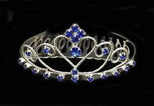 Sapphire Blue Rhinestones With Silver Plated Mini Tiara. Sapphire Blue.
