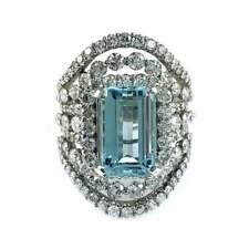 Fine Step-Cut 6.51CT Aquamarine With Shiny White 3.81CT CZ In 925 Silver Ring