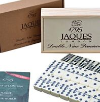 Jaques of London Dominoes - Club Double Nine Dominoes Set in Wooden Lid Slide D9