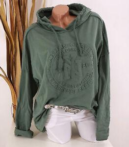 Italy Shirt Sweatshirt Hoodie 40 42 44 oliv Kapuze NY 3D Oversize Damen Motiv
