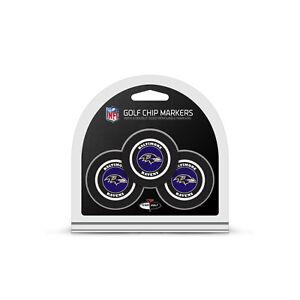 NFL Baltimore Ravens 3 Pack Golf Ball Markers Poker Chip Enamel Team