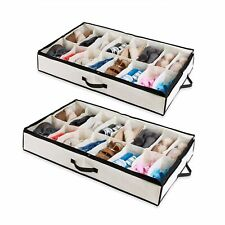Set of 2 Under The Bed Shoe Organizer Fits 12 Pairs Each – Underbed Storage S...