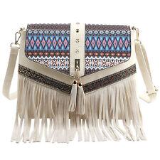 Ladies Small Shoulder Bags Tassels Messenger Bags Vintage Leather Zipper