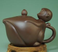 Antique china yixing ceramic tea-pot hand-made monkey peach statue teapot Ab01C
