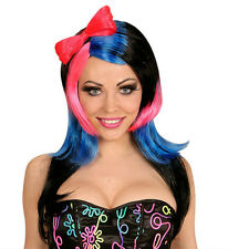 Ladies Pink Black Blue Manga Fancy Dress Wig Japanese Anime Cartoon Cosplay