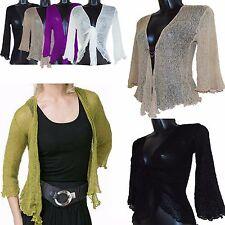 Ladies One Size Knit Tie Front Bolero Crochet Net Shrug Bali Top Cardigan 8-18