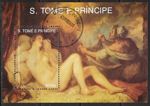 1990 São Tomé and Príncipe miniature sheet painters - Titian that is CTO