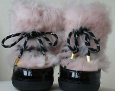 FENDI BABY KIDS BLACK SHEEPSKIN SNOW BOOTS EU 23-25 UK 6-8
