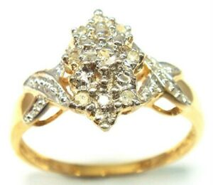 SYJEWELLERY FINE 9CT SOLID YELLOW GOLD NATURAL DIAMONDS RING SIZE N R912
