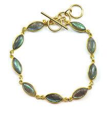 Labradorite Bracelet 14k Gold Filled 7 8 Inch Adjustable Bezel Chain Blue Flash
