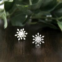 0.50 Ct Round Cut Diamond Snowflake Cluster Stud Earrings In 10k Real White Gold