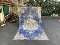 BLUE VINTAGE TURKISH TRIBAL RUG OUSHAK, LOW PILE WOOL RUG HANDMADE RUG RUNNER