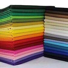 100% Cotton Fabric Sheeting Plain Solid Colours per metre, fat quarters, samples