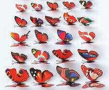 100pcs Wholesale Multicolor 3D 7CM Artificial Butterflies with Magnet Home Decor
