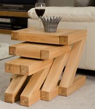 Zaria solid oak designer furniture nest of three coffee tables
