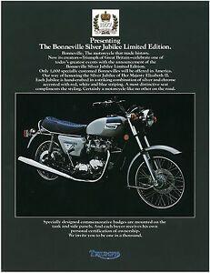 TRIUMPH Brochure T140 Bonneville 1977 Silver Jubilee USA Sales Catalog REPRO