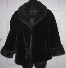 Regina Glenara by Glenoit Vintage Faux Fur Black Shawl Cape Wrap S / M