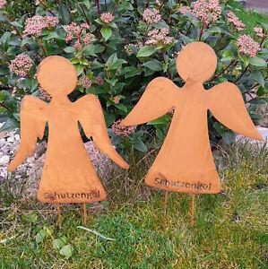 Schutzengel 2er Set Edelrost Gartenfigur Gartenstecker Beetstecker Gartendeko