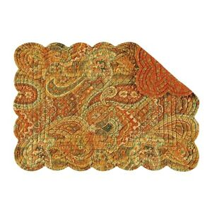 Set of 2 C&F TANGIERS Paisley Floral Quilted Cotton Rectangular Placemats