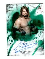WWE AJ Styles 2018 Topps Undisputed Green On Card Autograph SN 4 of 50