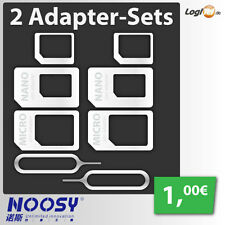 2 x Nano Micro Sim Karten Adapter Set Noosy 4 in1 für iPhone 4 5 6 7 Samsung HTC