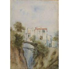 ORIGINALE firmato senza cornice anni Sessanta Inverno Amleto Paesaggio Pittura 36 x 46cm