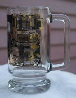 Vintage Texas Clear Glass Souvenir Mug,black & Gold Leaf Places Design,1970s