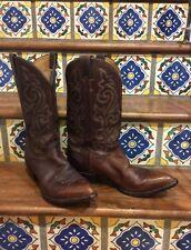 Justin Fancy Stitched Brown Leather Cowboy Boots Men 12 D