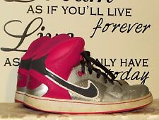 NIKE Air FORCE Hi HIGH TOPS Silver & Hot Pink Jordans Girls shoes Sz 7 @
